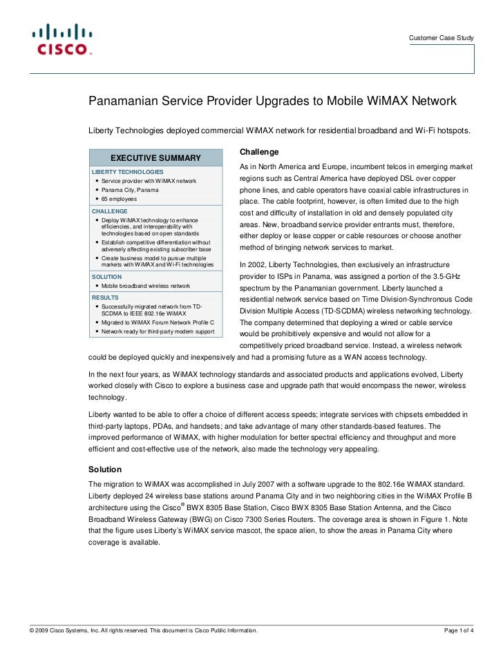 Customer Case Study                            Panamanian Service Provider Upgrades to Mobile WiMAX Network               ...