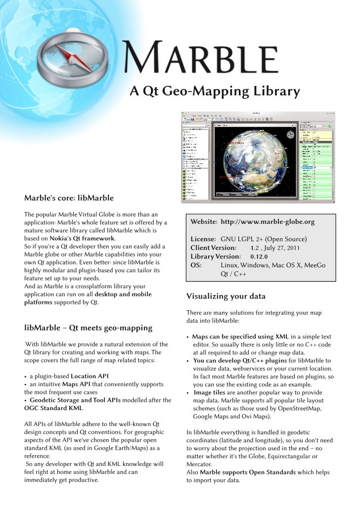Marble Virtual Globe for Developers - Factsheet