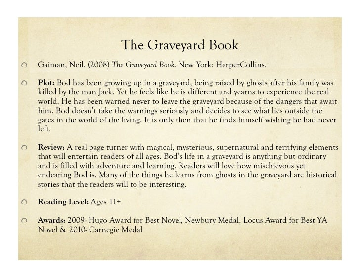 the graveyard book thesis statement Critical insights: neil gaiman and include discussion on monumental works such as the graveyard book the chapters do not radiate from any central thesis.