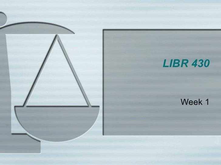 LIBR 430 Week 1