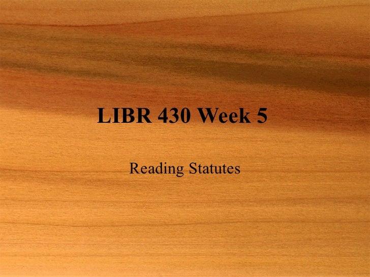 Libr 430 Week 5