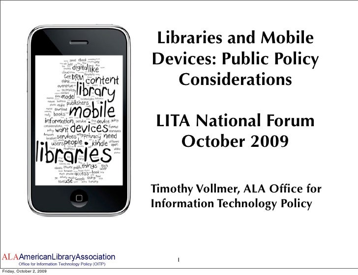 Libraries And Mobile Devices: Public Policy Considerations