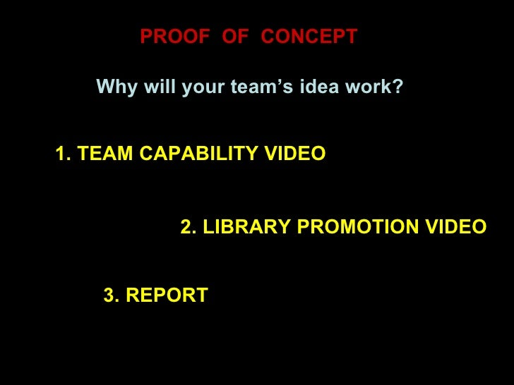 PROOF  OF  CONCEPT Why will your team's idea work? 1. TEAM CAPABILITY VIDEO 2. LIBRARY PROMOTION VIDEO 3. REPORT