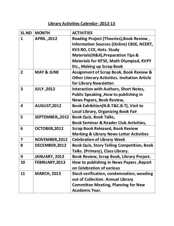 Library Activities Calendar- 2012-13SL.NO MONTH           ACTIVITIES1     APRIL ,2012     Reading Project (Theories),Book ...