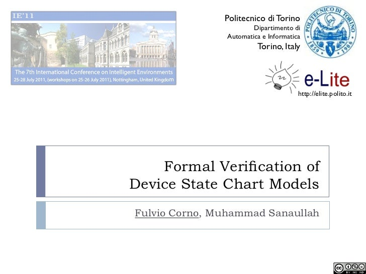 Formal Verification of Device State Chart Models