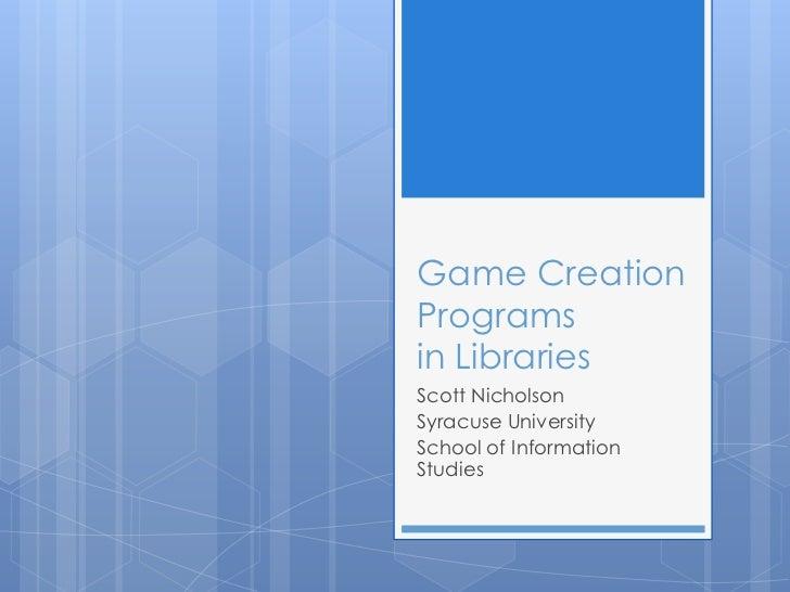 Library game design programs