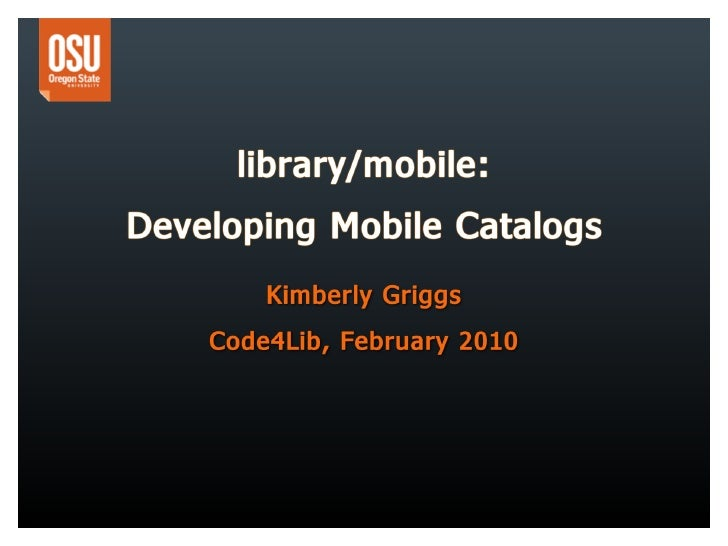 library/mobile: Developing Mobile Catalogs