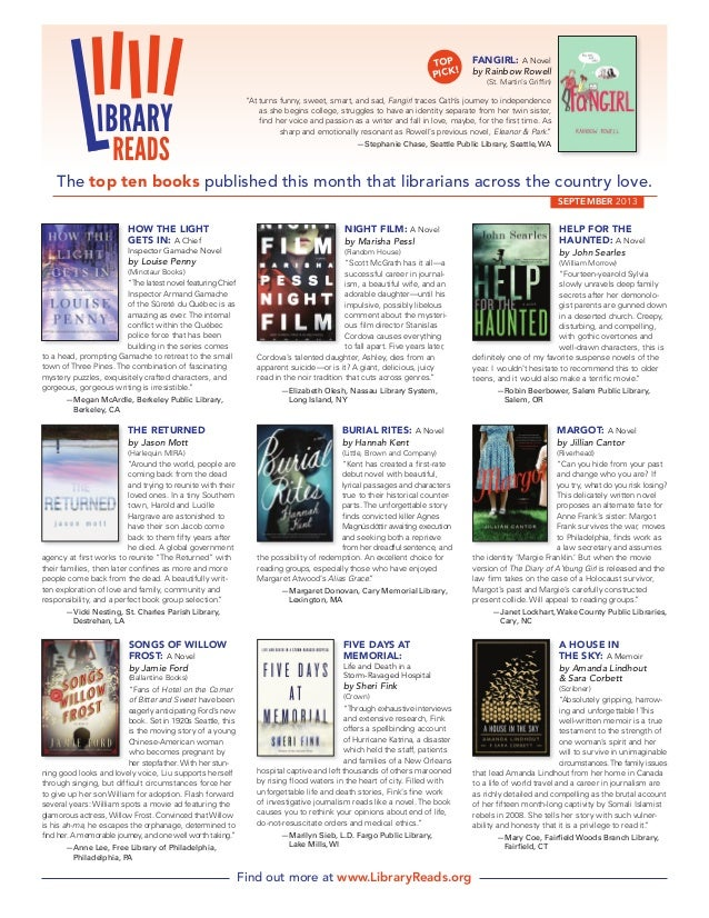 LibraryReads: September 2013 recommendations