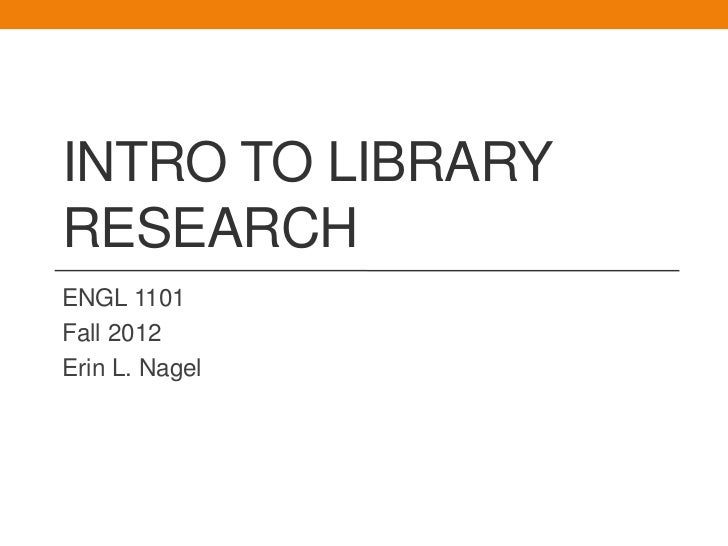 Library Research and Web Evaluation- Nagel