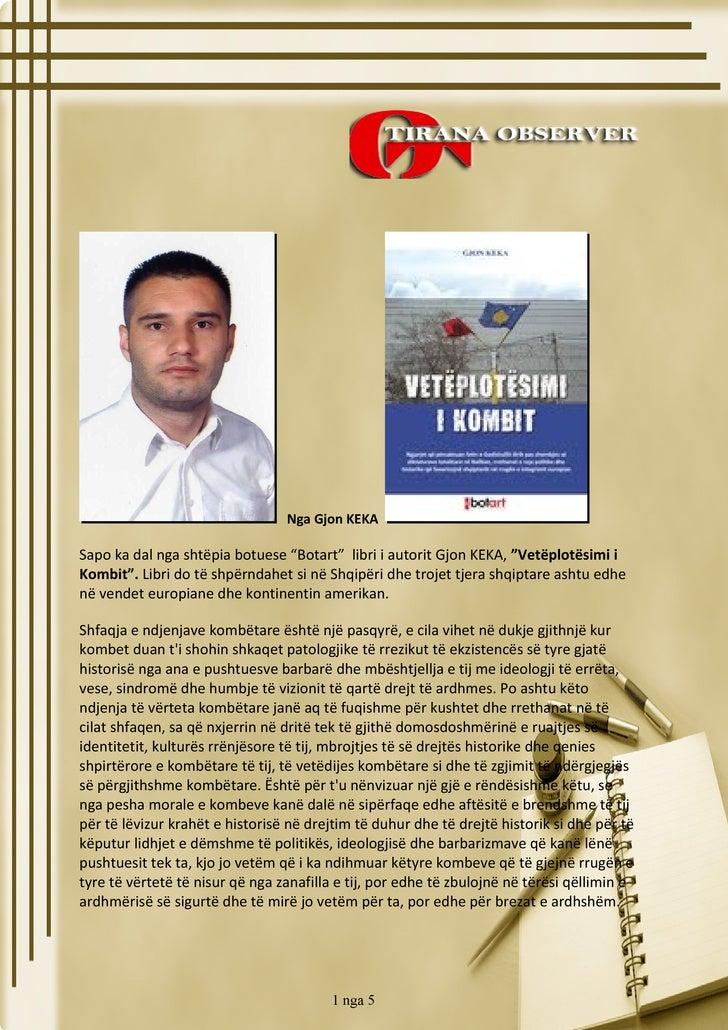 """libri i autorit Gjon KEKA """"Vetëplotësimi i Kombit"""""""