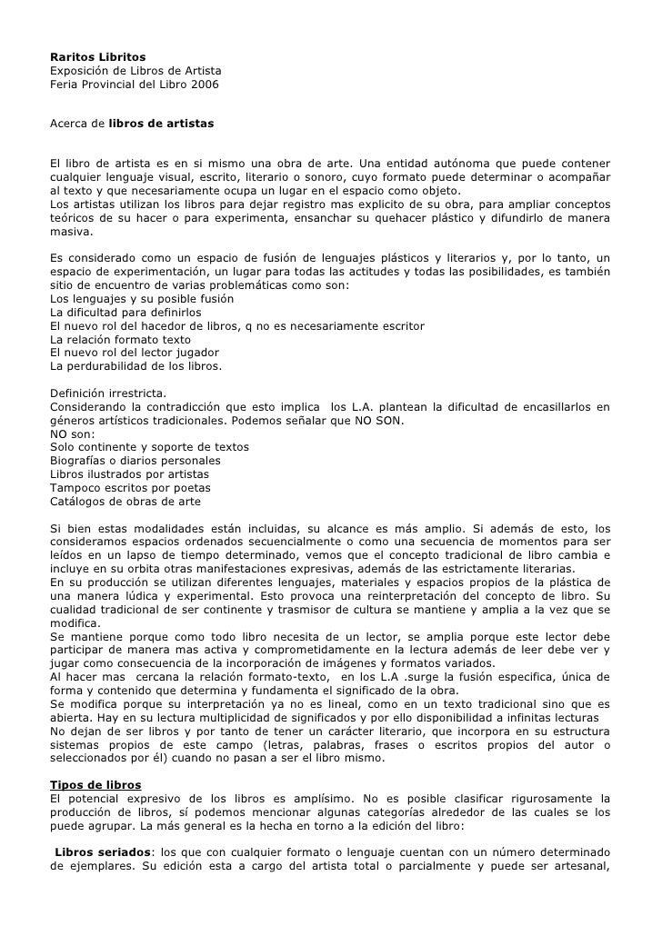 Raritos LibritosExposición de Libros de ArtistaFeria Provincial del Libro 2006Acerca de libros de artistasEl libro de arti...