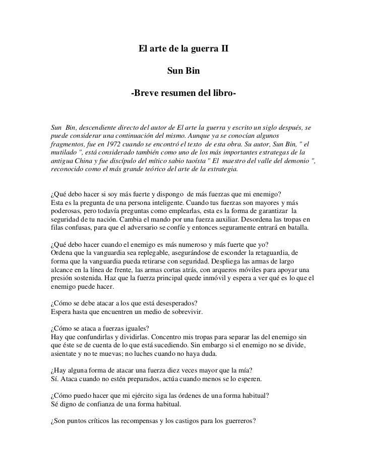 Libro   ( Sun Tzu & Sun Bin) El Arte De La Guerra   Libro Ii ( Resumen)