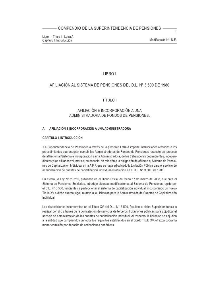 COMPENDIO DE LA SUPERINTENDENCIA DE PENSIONES                                                                             ...