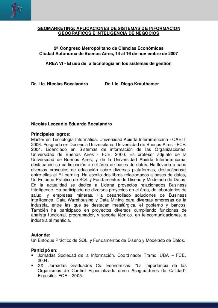 GEOMARKETING: APLICACIONES DE SISTEMAS DE INFORMACION         GEOGRAFICOS E INTELIGENCIA DE NEGOCIOS          2º Congreso ...