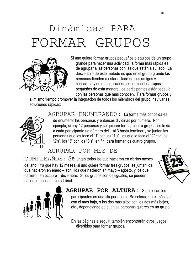 18              Dinámicas PARA   FORMAR GRUPOS                         Si uno quiere formar grupos pequeños o equipos de u...