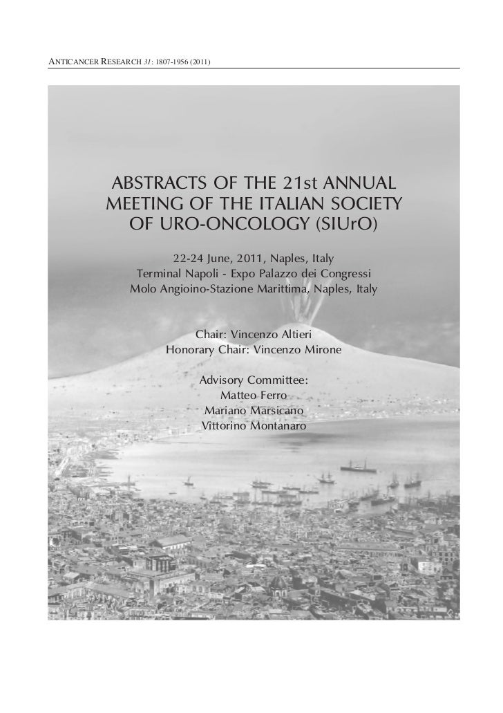 ANTICANCER RESEARCH 31: 1807-1956 (2011)              ABSTRACTS OF THE 21st ANNUAL              MEETING OF THE ITALIAN SOC...