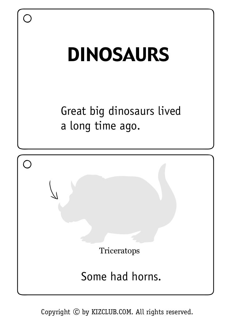DINOSAURS      Great big dinosaurs lived      a long time ago.                  Triceratops            Some had horns.Copy...