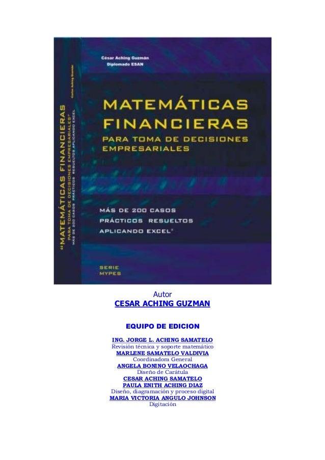 AutorCESAR ACHING GUZMANEQUIPO DE EDICIONING. JORGE L. ACHING SAMATELORevisión técnica y soporte matemáticoMARLENE SAMATEL...