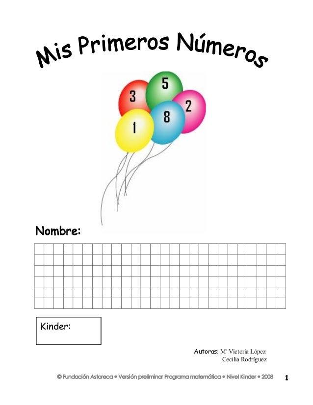 © Fundación Astoreca — Versión preliminar Programa matemática — Nivel Kinder — 2008 1 Autoras:MªVictoriaLópez Cecilia...