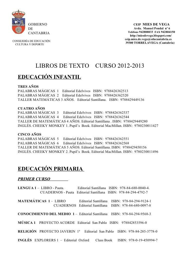 Lista de libros 2012  13