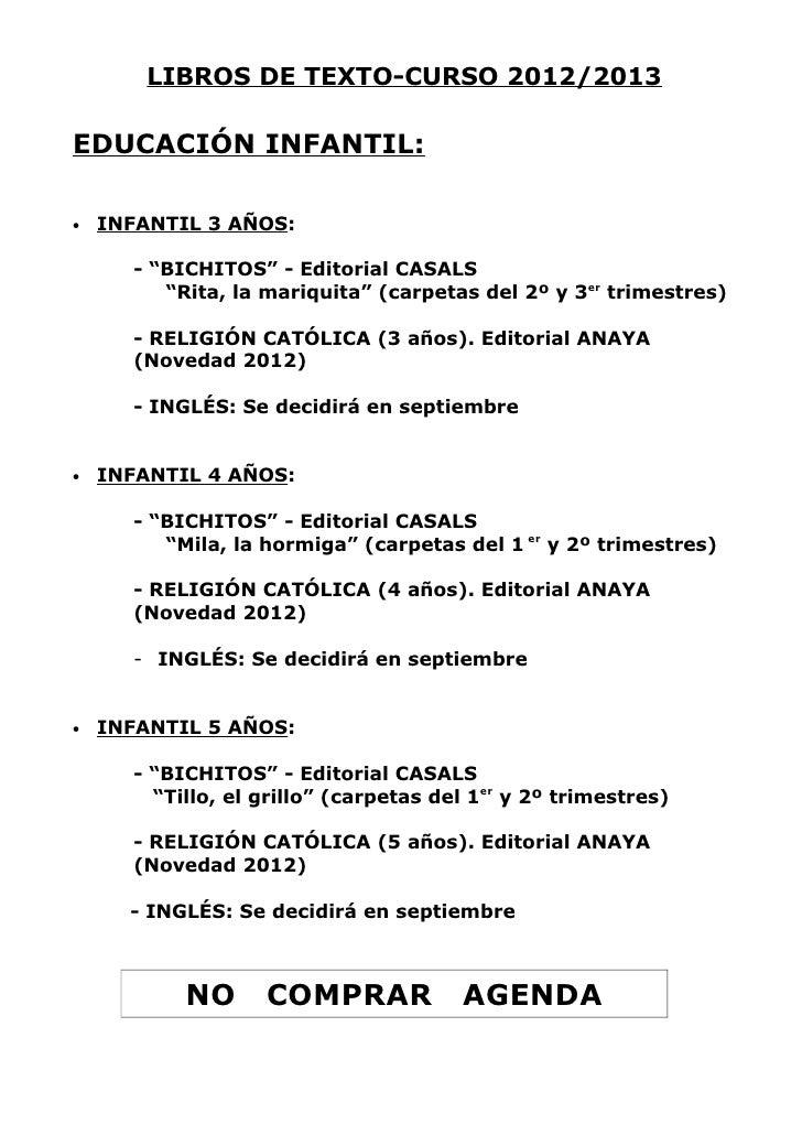 "LIBROS DE TEXTO-CURSO 2012/2013EDUCACIÓN INFANTIL:•   INFANTIL 3 AÑOS:      - ""BICHITOS"" - Editorial CASALS         ""Rita,..."