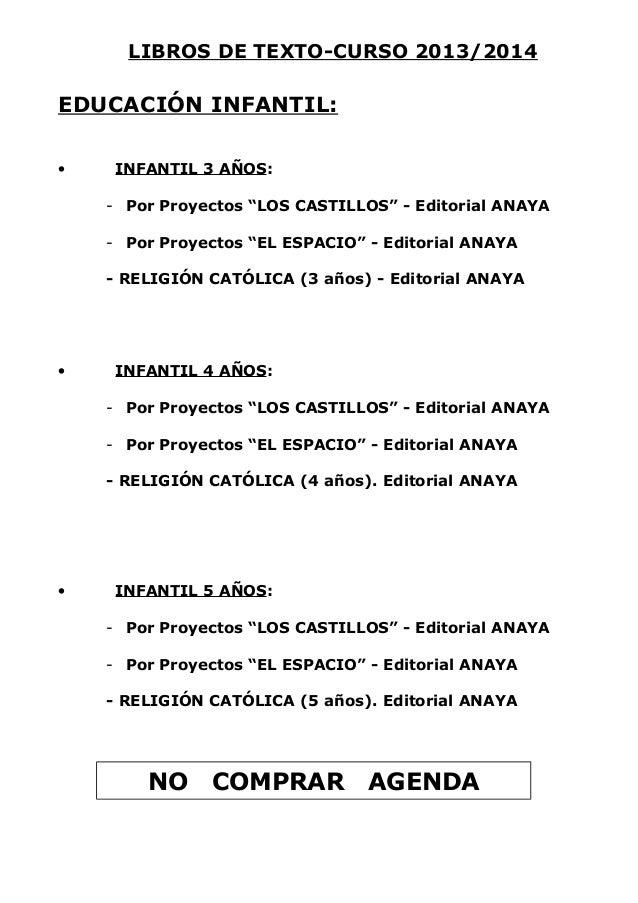 """LIBROS DE TEXTO-CURSO 2013/2014 EDUCACIÓN INFANTIL: • INFANTIL 3 AÑOS: - Por Proyectos """"LOS CASTILLOS"""" - Editorial ANAYA -..."""