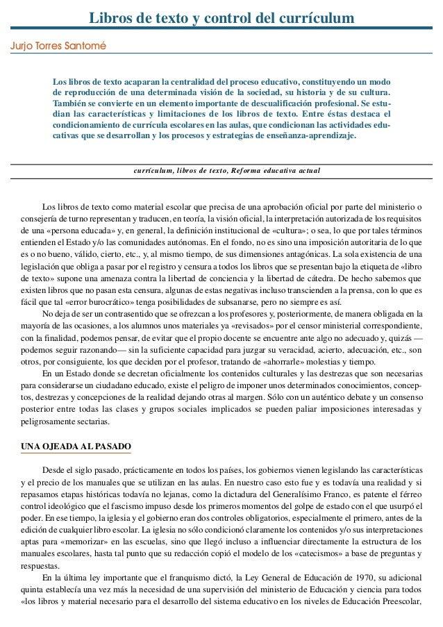 """""""Libros de texto y control del currículum"""" Jurjo Torres Santomé (1989)."""