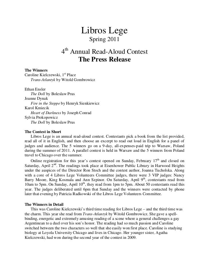 Libros lege 2011 Press Release of Winners for 4th annual contest