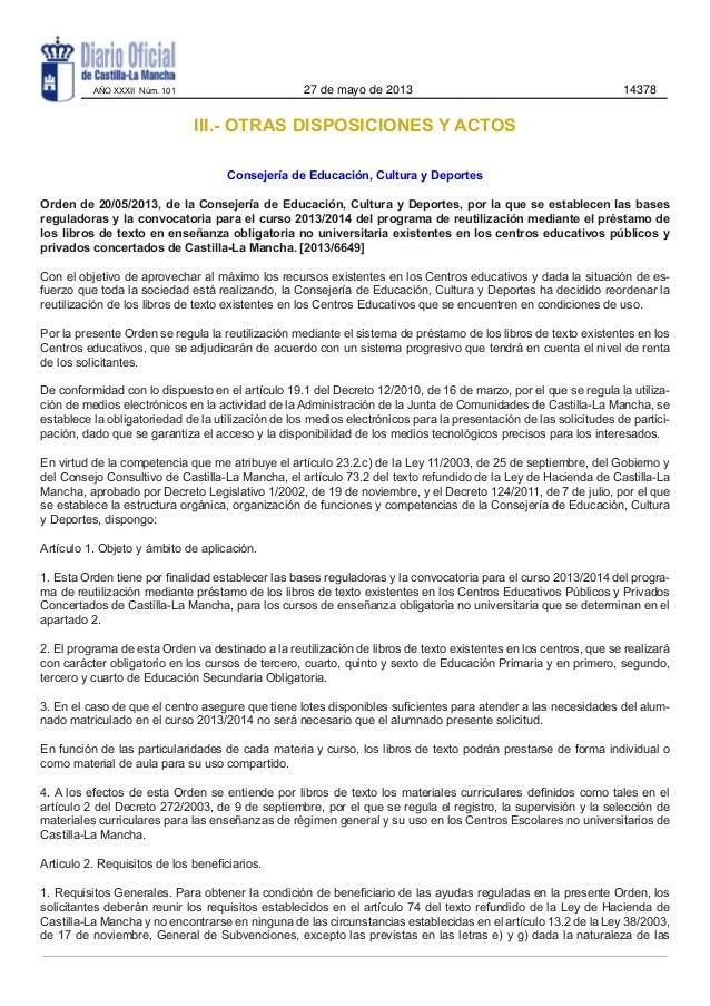 III.- OTRAS DISPOSICIONES Y ACTOSConsejería de Educación, Cultura y DeportesOrden de 20/05/2013, de la Consejería de Educa...