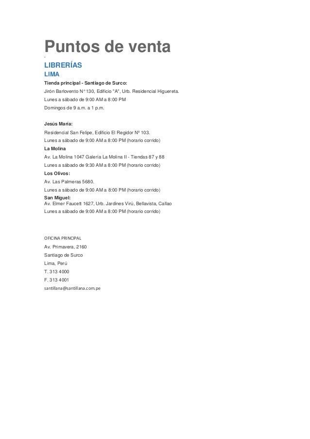 """Puntos de venta`LIBRERÍASLIMATienda principal - Santiago de Surco:Jirón Barlovento N° 130, Edificio """"A"""", Urb. Residencial ..."""