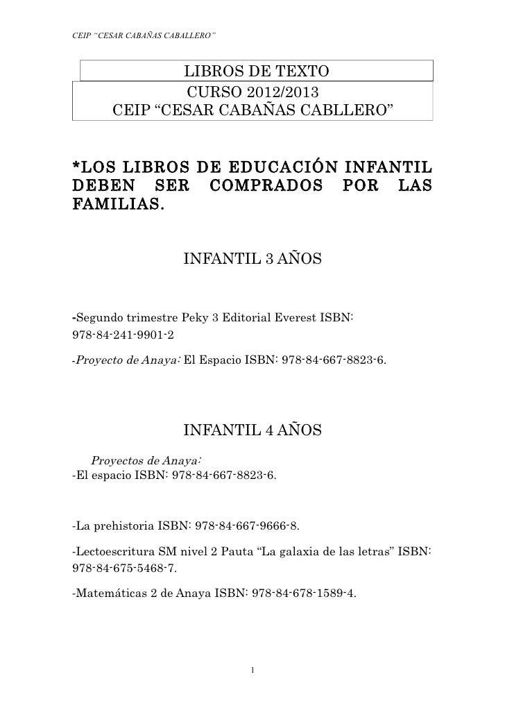 """CEIP """"CESAR CABAÑAS CABALLERO""""                LIBROS DE TEXTO                CURSO 2012/2013        CEIP """"CESAR CABAÑAS CA..."""