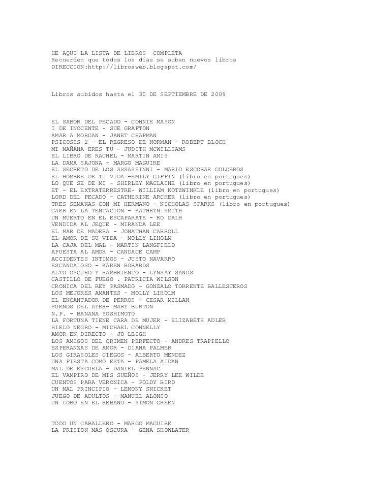 Librosweb Listado Hasta El 30 De Septiembre 2009[1]