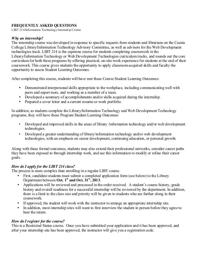 FAQs: Cuesta College LIBT 214 Internship, Spring 2014