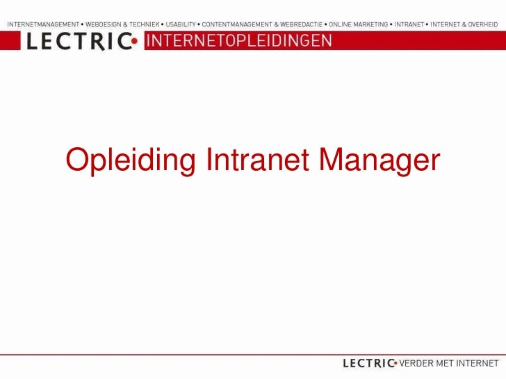 Opleiding Intranet Manager