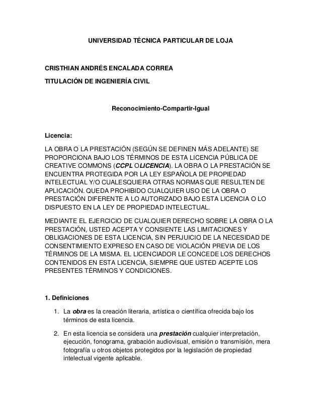 UNIVERSIDAD TÉCNICA PARTICULAR DE LOJACRISTHIAN ANDRÉS ENCALADA CORREATITULACIÓN DE INGENIERÍA CIVIL                      ...