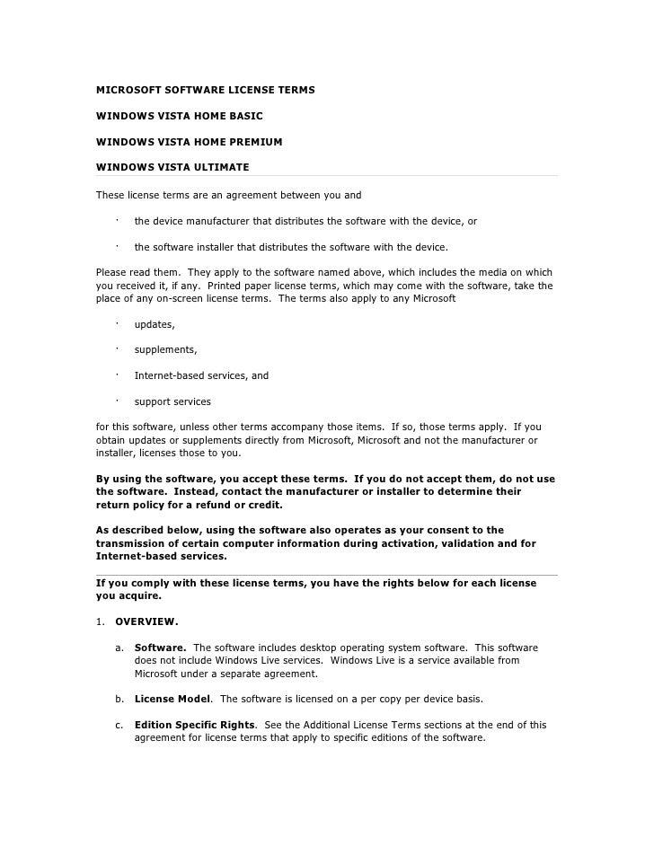 MICROSOFT SOFTWARE LICENSE TERMSWINDOWS VISTA HOME BASICWINDOWS VISTA HOME PREMIUMWINDOWS VISTA ULTIMATEThese license term...