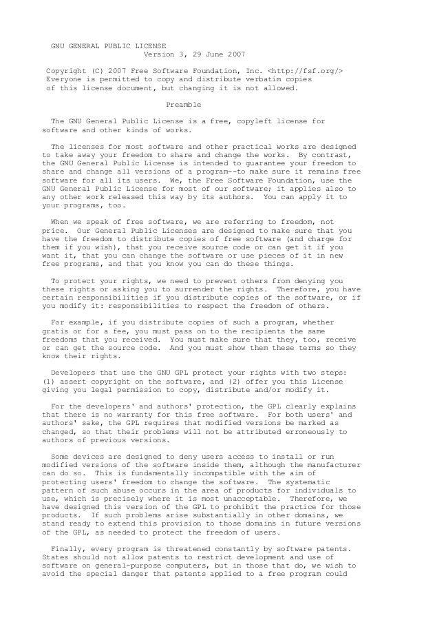 GNU GENERAL PUBLIC LICENSE Version 3, 29 June 2007 Copyright (C) 2007 Free Software Foundation, Inc. <http://fsf.org/> Eve...