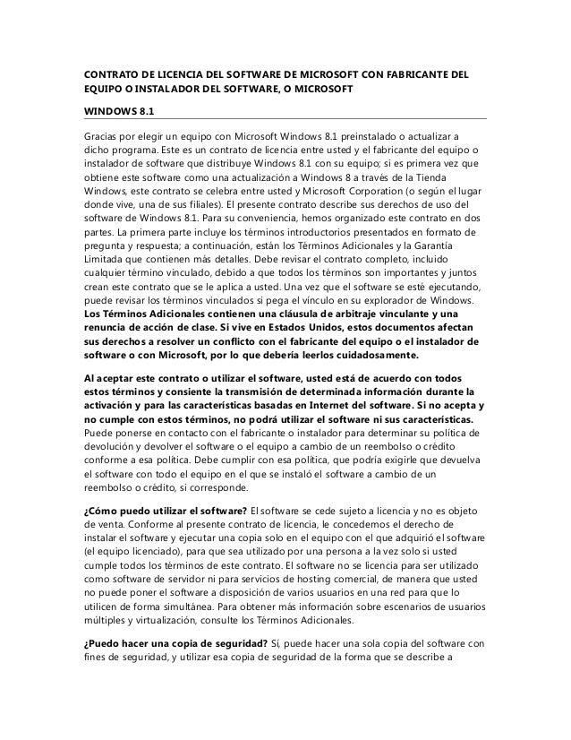 CONTRATO DE LICENCIA DEL SOFTWARE DE MICROSOFT CON FABRICANTE DEL EQUIPO O INSTALADOR DEL SOFTWARE, O MICROSOFT WINDOWS 8....