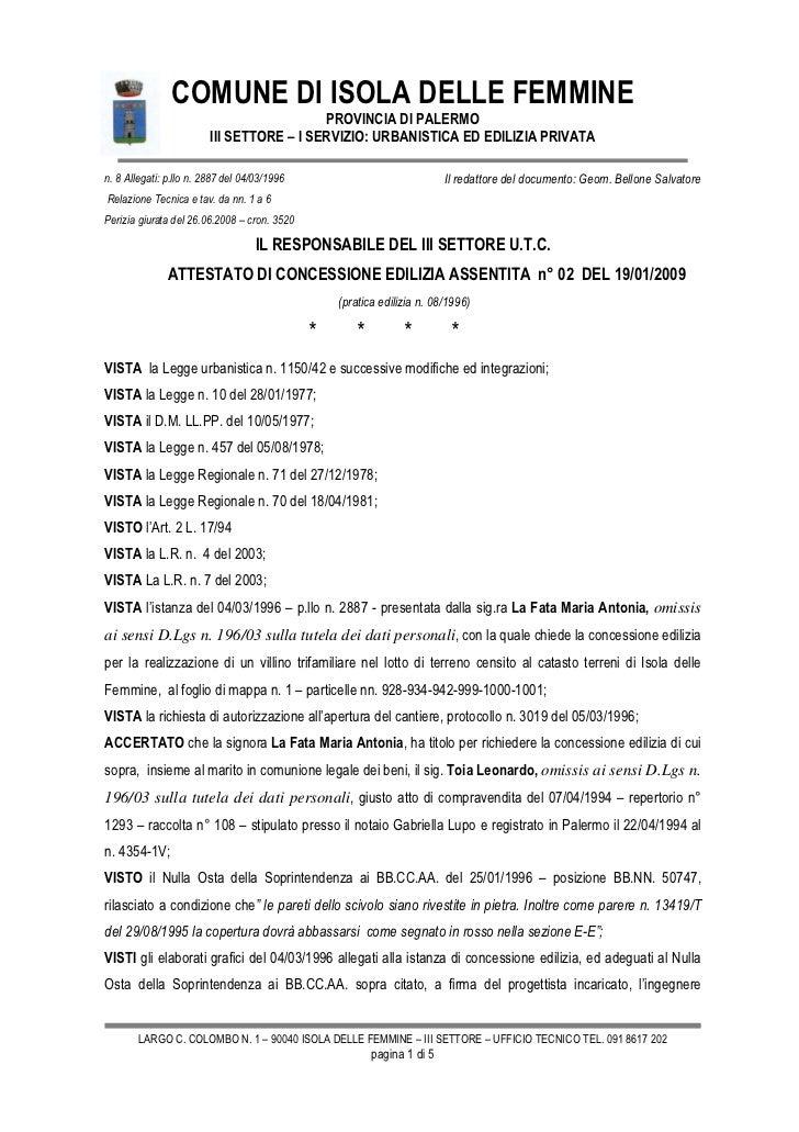 COMUNE DI ISOLA DELLE FEMMINE                                           PROVINCIA DI PALERMO                         III S...