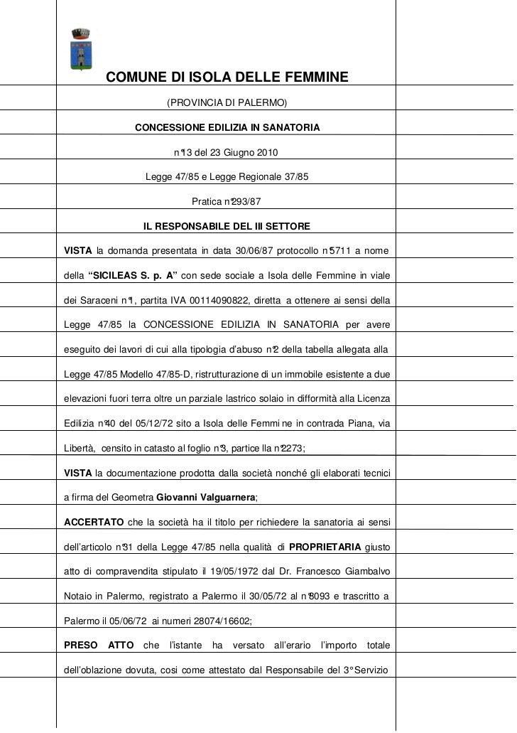COMUNE DI ISOLA DELLE FEMMINE                          (PROVINCIA DI PALERMO)                  CONCESSIONE EDILIZIA IN SAN...