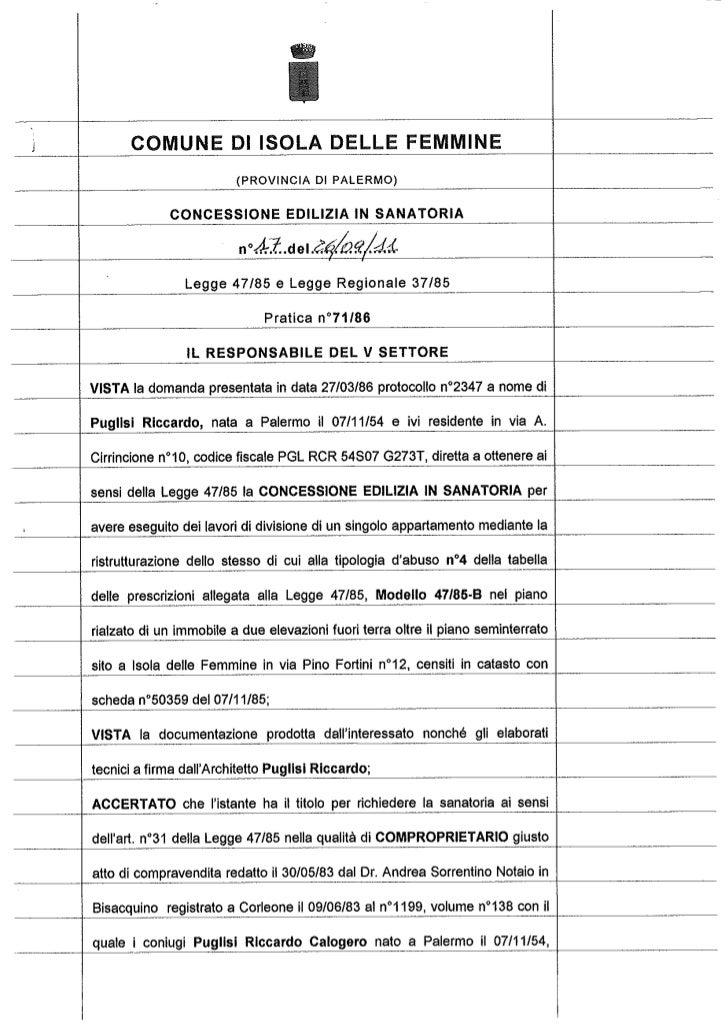 Licenza edilizia  in sanatoria  2011 cottone giuseppe mineo rosaria c.e.s n.17.11[1]
