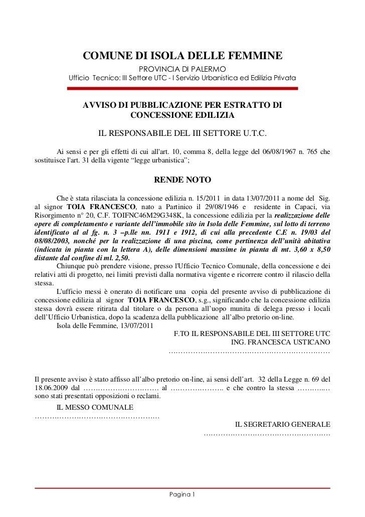 Licenza edilizia  in variante per piscina  2011 toia francesco ce n.15.11[1]