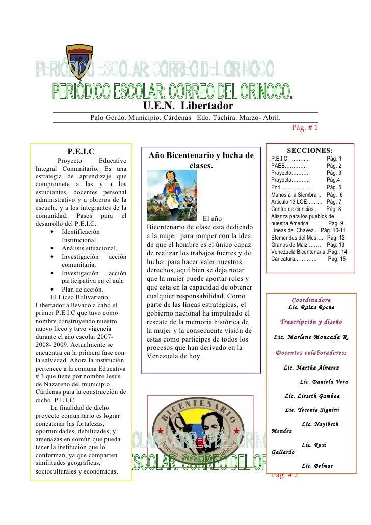 U.E.N. Libertador Palo Gordo. Municipio. Cárdenas –Edo. Táchira. Marzo- Abril. Pág. # 1 AñoBicentena rio Pág. # 2 P.E.I.C ...