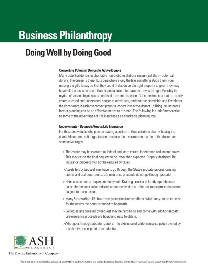 Business Philanthropy     Doing Well by Doing Good                                           Converting Potential Donors t...