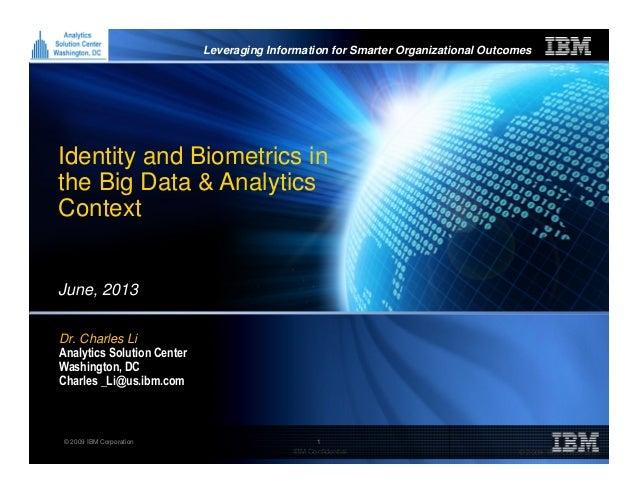 Identity and Biometrics in the Big Data & Analytics Context