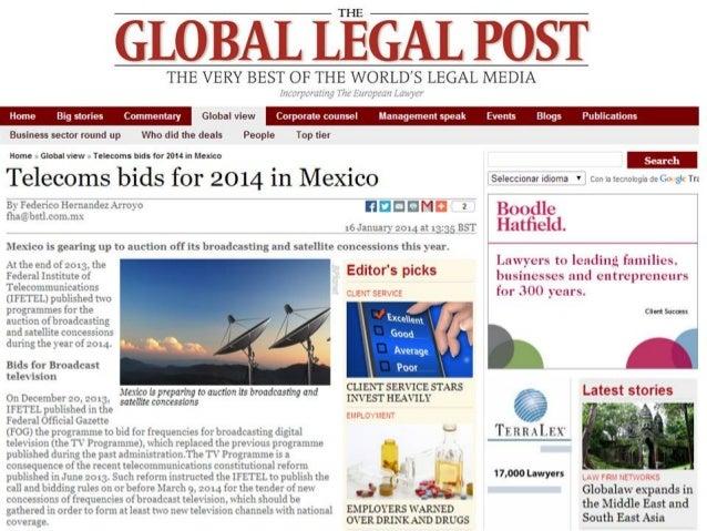 Licitaciones de telecomunicaciones para 2014 en México