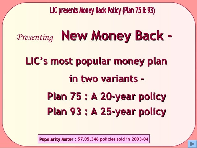 Presenting New Money Back -New Money Back -LIC's most popular money planLIC's most popular money planin two variants –in t...