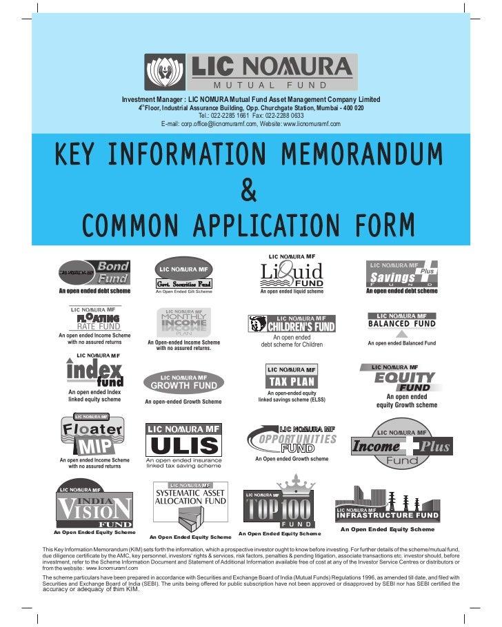 Lic nomura mf tax plan application form
