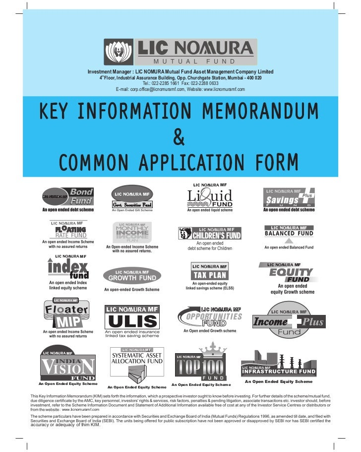 Lic nomura mutual fund common application form with kim