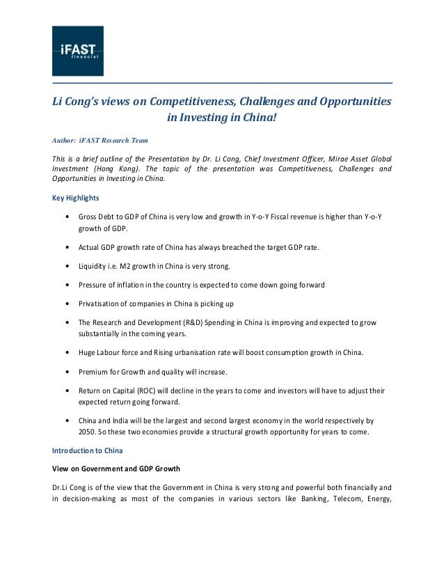 Li Cong's Views On Competitiveness, Challenges And Opportunities In Investing In China!